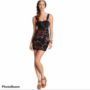 FREE PEOPLE Black Lace Floral Bodycon Dress XS